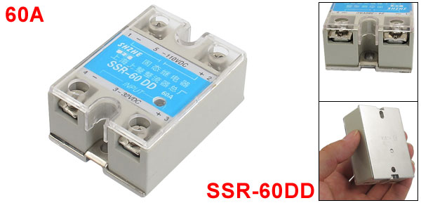 Single Phase Gray Solid State Relay SSR 60A 3-32VDC 5-110VDC