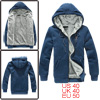 Men Steel Blue Zip Up Pockets Pure Color Zipper Decor Long Sleeve...