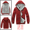Mens Red Korean Long Sleeve Pure Color Pockets Detail Hoody Zippe...