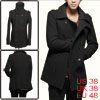 Mens Black Stylish Long Sleeve Double Breasted Con...