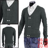 Men Dark Gray Stylish Button Closure Fake Pockets Solid Color V N...