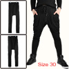 Men Black Stylish Elastic Waist Drawstring Baggy Pockets Casual H...