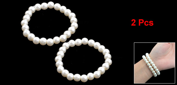 2 Pcs White Faux imitation Pearls Beaded Elastic Bracelet Wrist Ornament