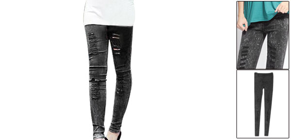 Ladies Elastic Waist Destroyed Washed Skinny Jeans Black XS