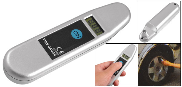 2.0-99.5Psi Digital LCD Display Tire Tyre Pressure Gauge Silver Tone