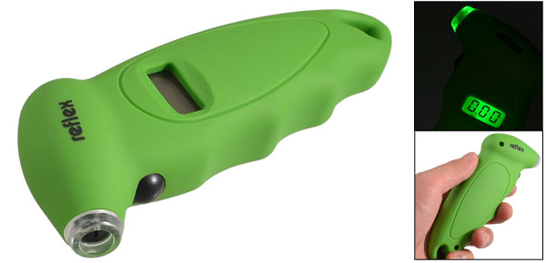 Green Plastic Housing Outdoor Portable LCD Digital Tire Gauge
