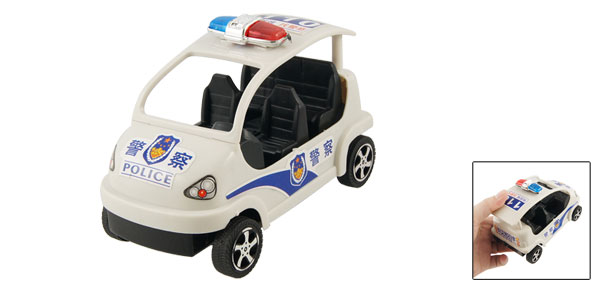 Pull String Blue White Plastic Police Car Toy Plaything for Children