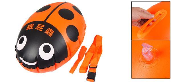 Orange Black Ladybird Shape Inflatable Swimming Floating Bag w Waist Belt