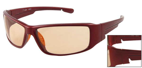 Plastic Full Frame Legs Burgundy Bridge Temple Arms Sunglasses for Men