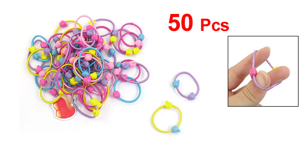 50 Pcs Colorful Peach Shape Beads Decor Elastic Band Hair Tie Ponytail Holder