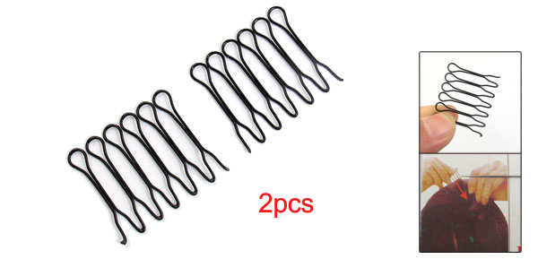 Metal Wave Wire Hoop Styling Fringe Flexible Headband Combs Black 2pcs