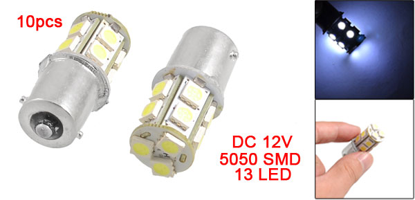 10 x BA15S 1156 5050 SMD 13 LED Car Tail Rear Turn Signal Light Bulb White