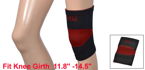 Sports Black Red Nylon Stretchy Knee Sleeve Support Protector