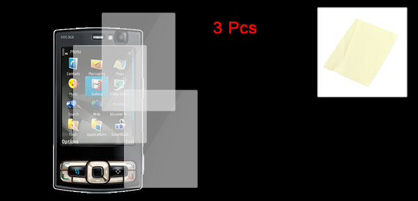 3 Pcs Transparent Plastic LCD Screen Protector Film for Nokia N958GB