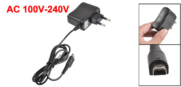 Black Plastic Shell 2 Pin EU Plug AC Travel Charger for Nintendo DS Lite