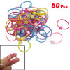 50 Pcs Multi Color Plastic Stars Detail Elastic Band Hair Tie Ponytail Holder
