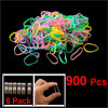 6 Pack 900 Pcs Assorted Color Rubber Elastic Hair Band Ponytail H...