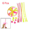 6 Pcs Children Hand Spinning Shooter Flying Saucer Disc Toy Yellow Magenta