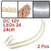 2 Pcs Car Auto Decorative White 24 LED Light Strip Lamp DC 12V