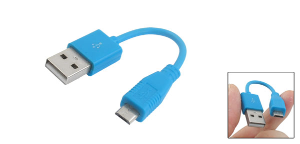 Light Blue USB A Male to Micro B 5 Pin Male Data Sync Charger Cable