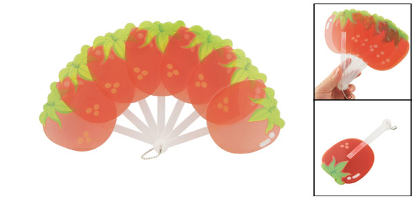 Plastic Green Tomato Design White Handle Folding Hand Fan