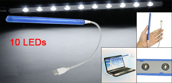 Flexible Notebook Computer Laptop USB Lamp 10 White LED Bulb