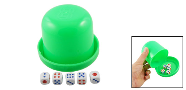 Pub KTV Plastic Dice Shaker Cup Shaking Toy Green w 5 Dices