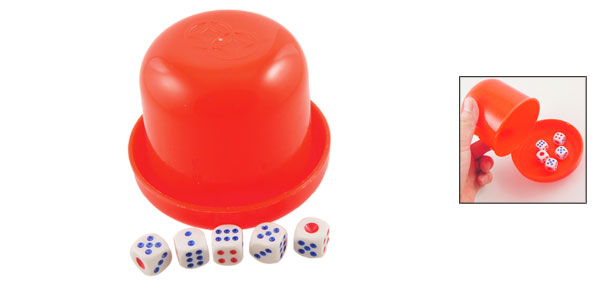 Family Party Red Plastic Dice Cup Game Toy w 5 Square Dices