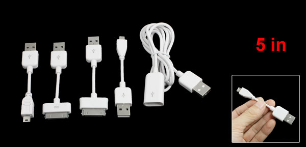 White USB 2.0 Cable Set 5 in 1 for Apple iPhone 3G 3GS 4 4G 4S