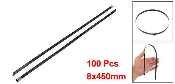 100 Pcs 8x450mm Locking Stainless PVC Sprayed Cable Ties Wire Strap