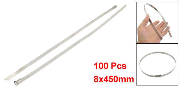 100 Pcs 8x450mm PVC Sprayed Self Locking Cable Pipe Ties Hoops