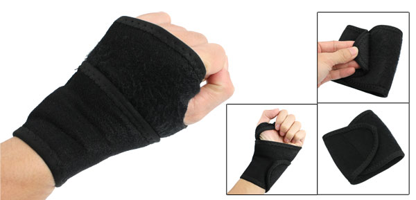 Black Hoop Loop Fastener Elastic Sports Wrist Support Brace Protector