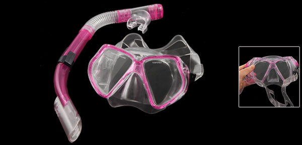Fuchsia Frame Clear Head Strap Swimming Goggles Mask Snorkel for Adult