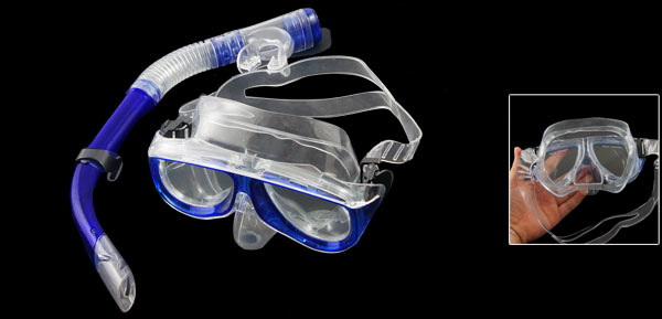 Dark Blue Frame Clear Head Strap Swimming Goggles Mask Snorkel Set for Adult