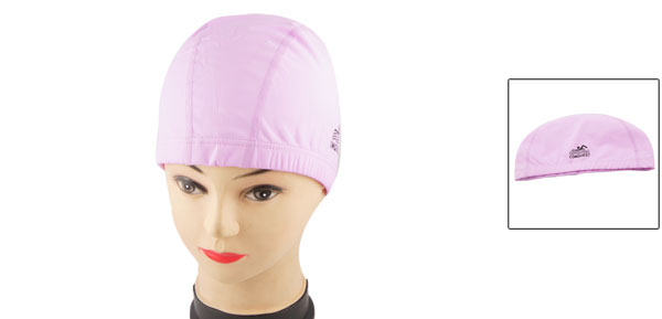 Woman Men Pink PU Coating Elastic Swimming Swim Hat Cap