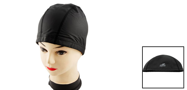 Woman Men Black PU Coated Stretch Swimming Swim Hat Cap