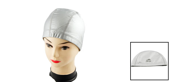Gray PU Coated Stretch Swimming Swim Hat Cap for Woman Men