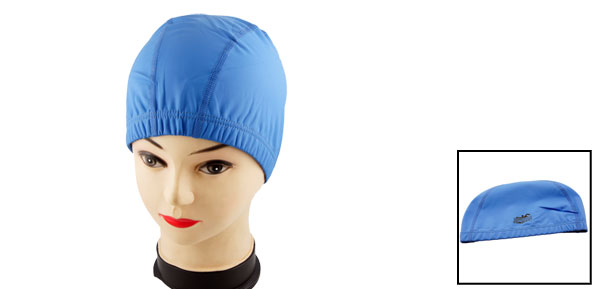 Blue PU Coating Stretch Swimming Swim Cap for Woman Men