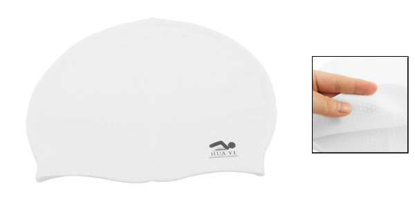 Adult Sports Soft Silicone Nonslip Flexible Swimming Cap Hat White 18.5cm Width