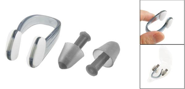 PVC Swim Swimming Nose Clip Earplugs Black w Clear Plastic Case for Adult