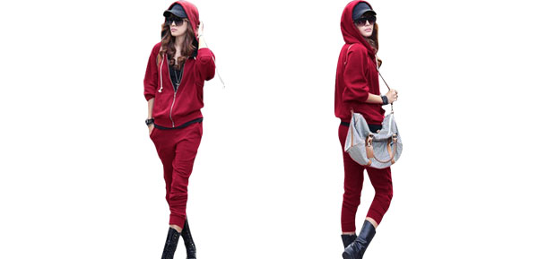 Ladies Burgundy Long Sleeve Zip Up Hoodie w Elastic Low Waist Cropped Pants XS
