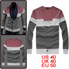 Mens Gray Burgundy Single Breasted Stretchy Long Sleeve Cardigan ...