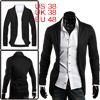 Men Black Stylish Shawl Collar Long Slee...