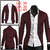 Men Burgundy NEW Long Sleeve Solid Color Simple Style Open Front ...