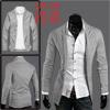 Mens Light Gray Korean Long Sleeve Solid...