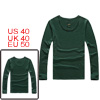 Mens Dark Green Fashion Simple Style Long Sleeve Pullover Fit Aut...