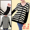 Mathernity V Neck Single Breasted Stripe Pattern Black Cardigan X...