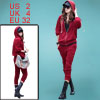 Ladies Burgundy Long Sleeve Color Patchwork Hood Outwear w Croppe...