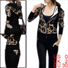 Ladies Brown Leopard Pattern Hoodie w Full Length Flare Pants Tra...