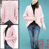 Ladies Dolman Long Sleeve Front Opening Pink Chunky Knitting Card...
